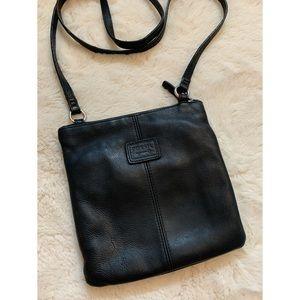 Fossil, black genuine leather crossbody purse